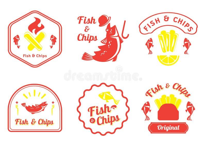 Retro emblemdesign för fisk och för chiper vektor illustrationer
