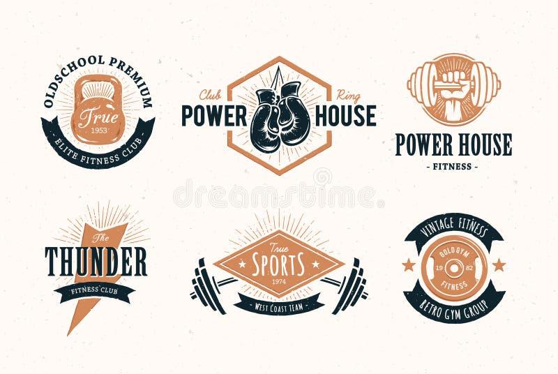 Retro emblemi di forma fisica illustrazione vettoriale