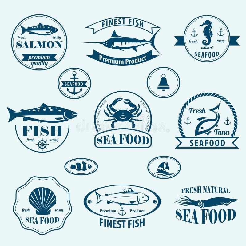 Retro emblemi ed etichette dei frutti di mare illustrazione vettoriale