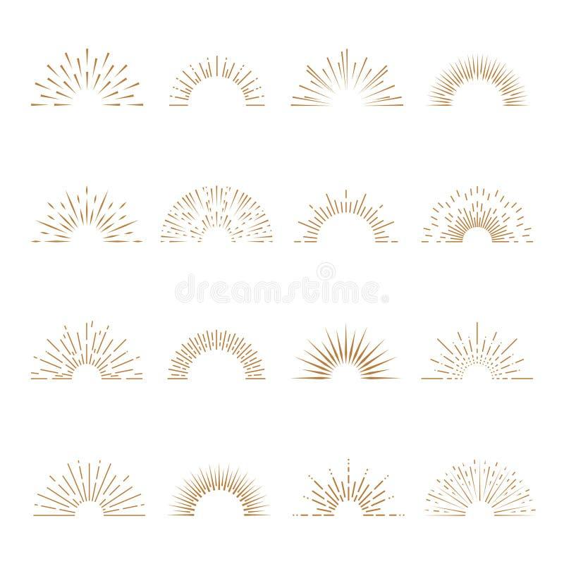 Retro- Emblemsonnenstrahln-Formexplosion des Sonnendurchbruch Sonnenaufgangfeuerwerkssonnenuntergangexplosionssonnenstrahls Zusam lizenzfreie abbildung