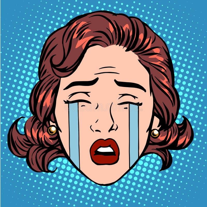 Retro Emoji drzeje płaczu stroskania kobiety twarz ilustracja wektor
