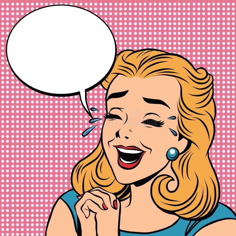 Retro emoticon della ragazza di scherzo di gioia di risata di Emoji illustrazione di stock