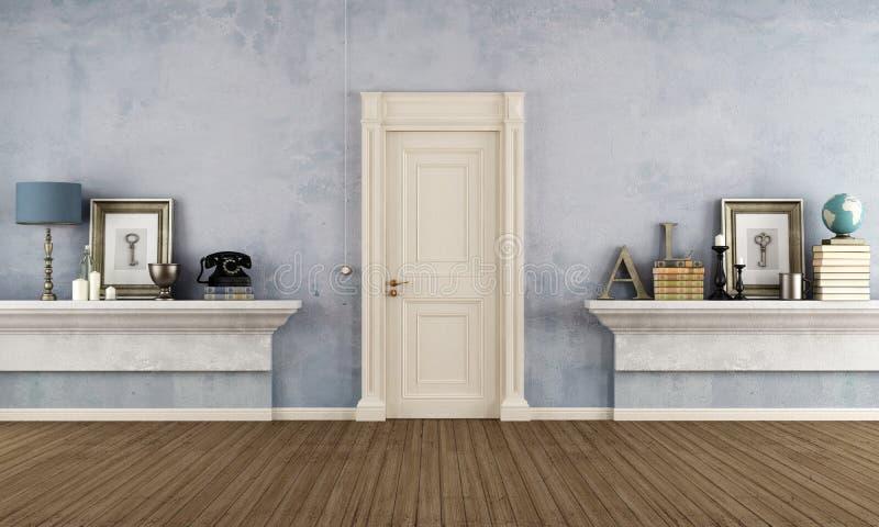 Retro entrata domestica con lo scaffale della muratura illustrazione vettoriale