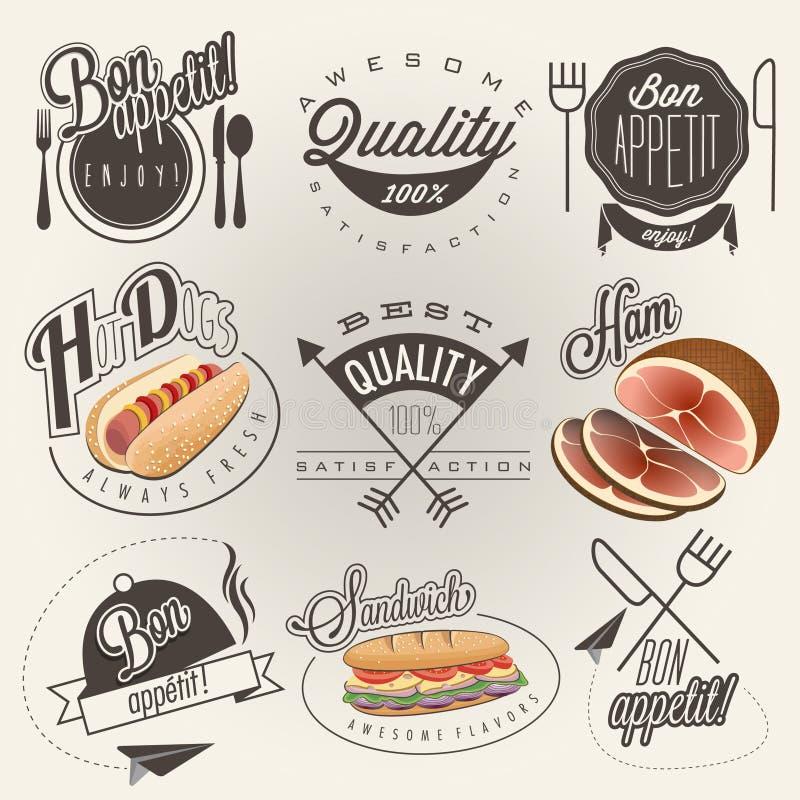 Retro- entwerfen gezeichnete typografische Symbole der Weinleseart Hand für Restaurantmenü lizenzfreie abbildung