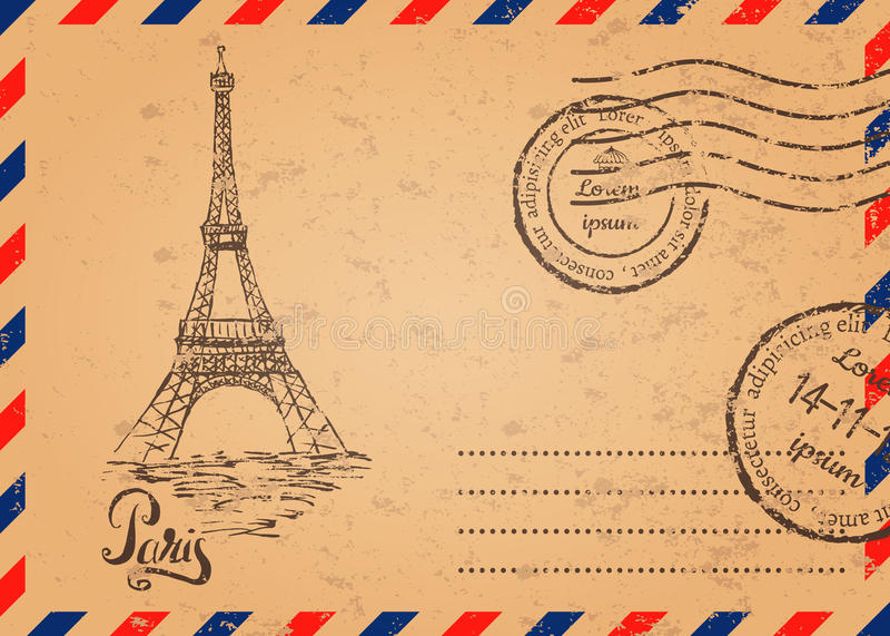 Retro envelop met zegels, de Toren van Eiffel stock illustratie