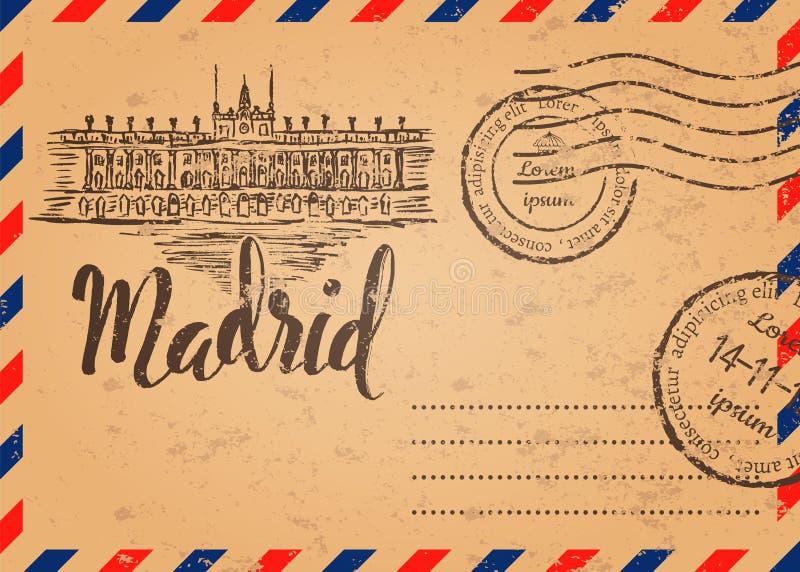 Retro envelop met zegels, het etiket van Madrid met hand getrokken Royal Palace van Madrid stock illustratie