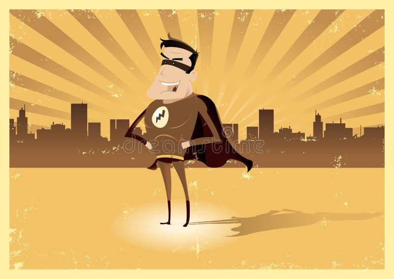 Retro eroe eccellente dell'annata - maschio illustrazione di stock
