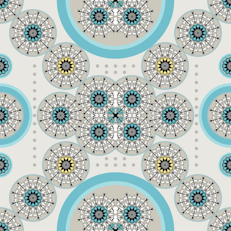 Retro ethnic_blue stock illustrationer