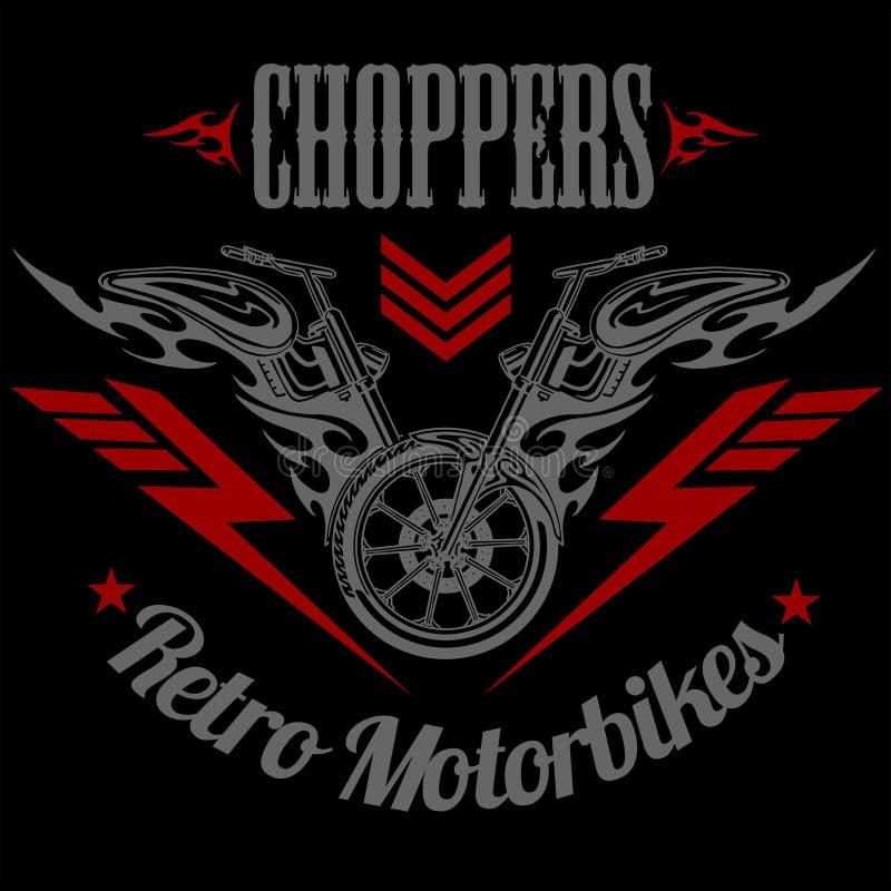Retro etichetta del motociclo, distintivo ed elementi di progettazione royalty illustrazione gratis