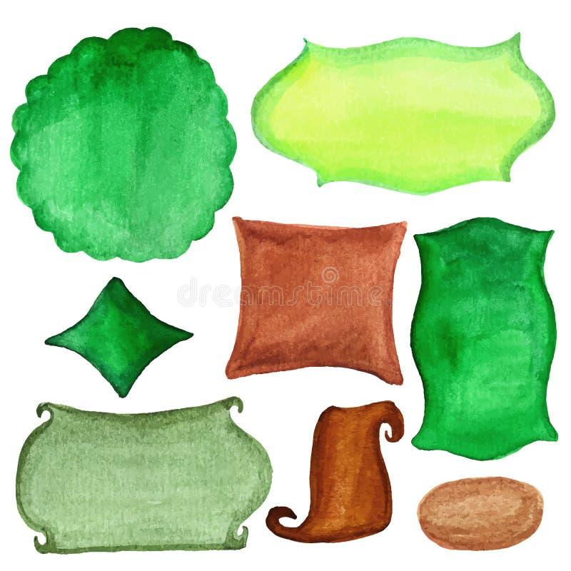 Retro etichette dell'acquerello, distintivi Insieme di verde illustrazione di stock