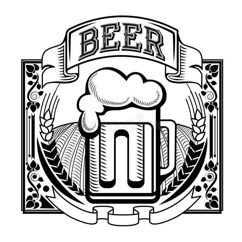 Retro etiket van bier of brouwerij royalty-vrije illustratie