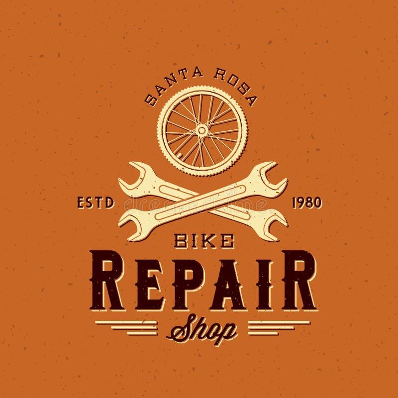 Retro etikett eller Logo Template för Bycicle reparationsvektor vektor illustrationer