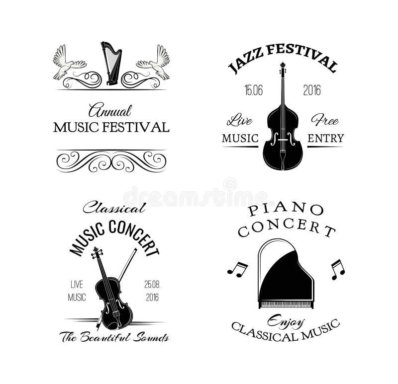 Retro etikett för musiktappning Fiol harpa, piano Festival- och konsertemblem Vektorillustration på vit royaltyfri illustrationer