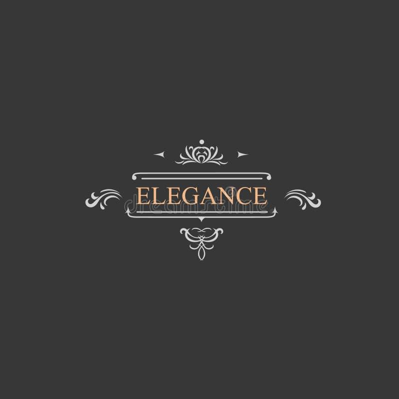 Retro etikett för tappning och lyxlogo, restaurang royaltyfri illustrationer