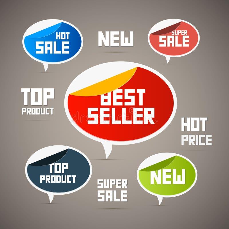 Retro Etiketten, Markeringen. Nieuwe Bestseller,… vector illustratie