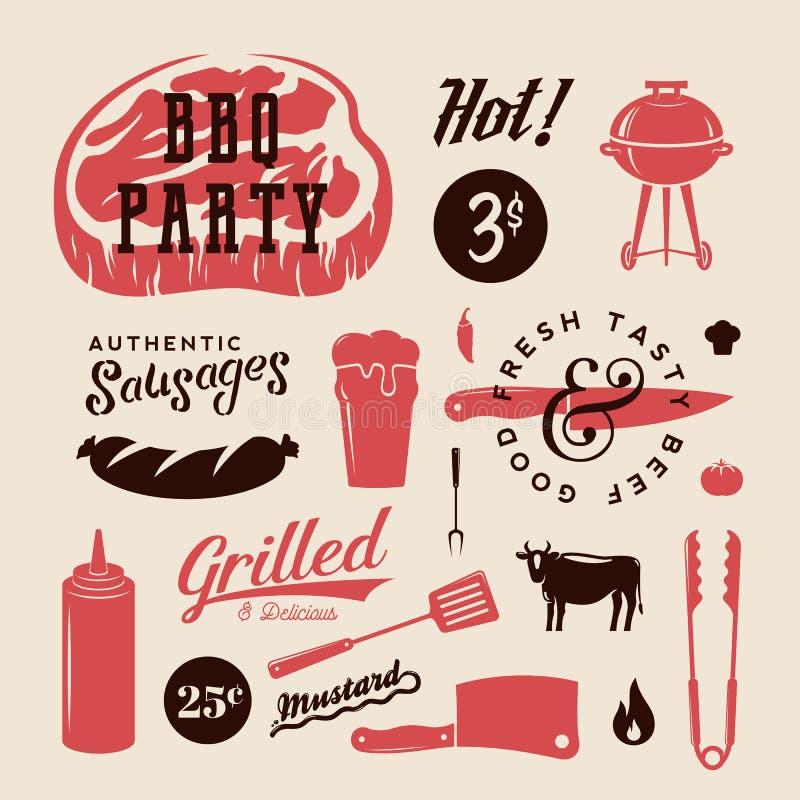 Retro etiketter eller symboler för grillfestpartivektor Modell för kött- och ölsymbolstypografi Biff korv, gallertecken royaltyfri illustrationer