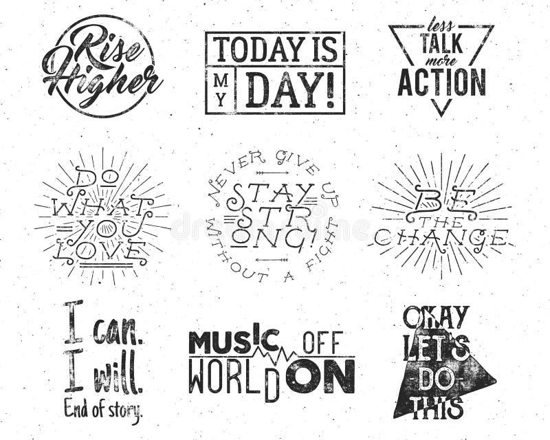 Retro etiketter för inspirerande för typografilivstil motivation för citationstecken fastställd bekymrade texter för rengöringsdu stock illustrationer