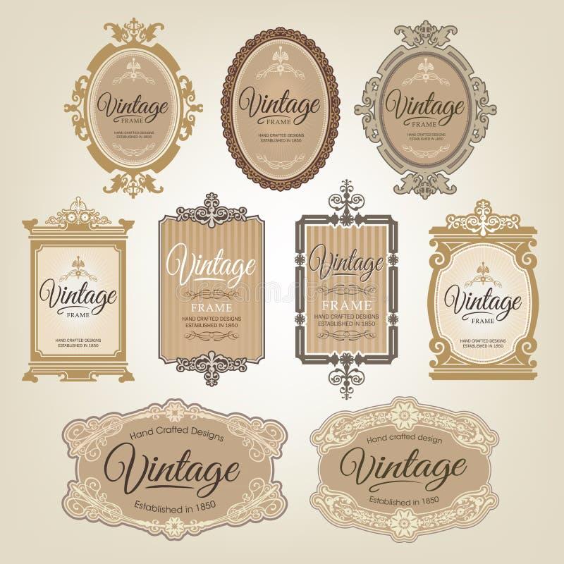 Retro etiketter för tappning stock illustrationer