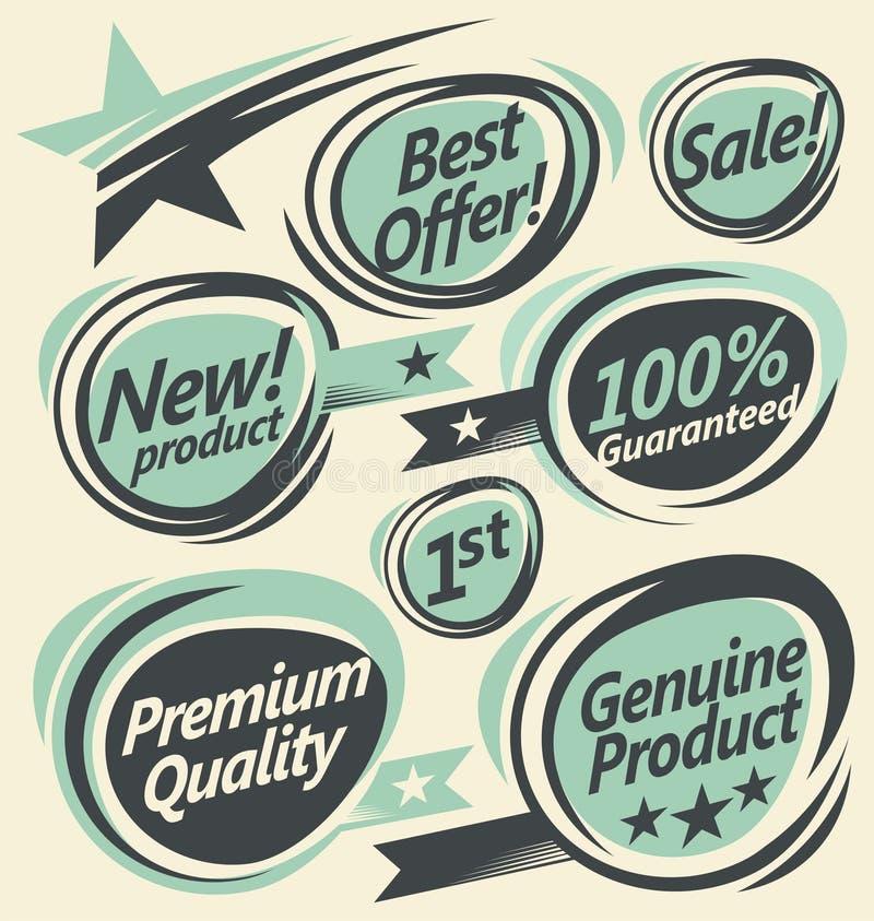 Retro etiketter och klistermärkesamling stock illustrationer