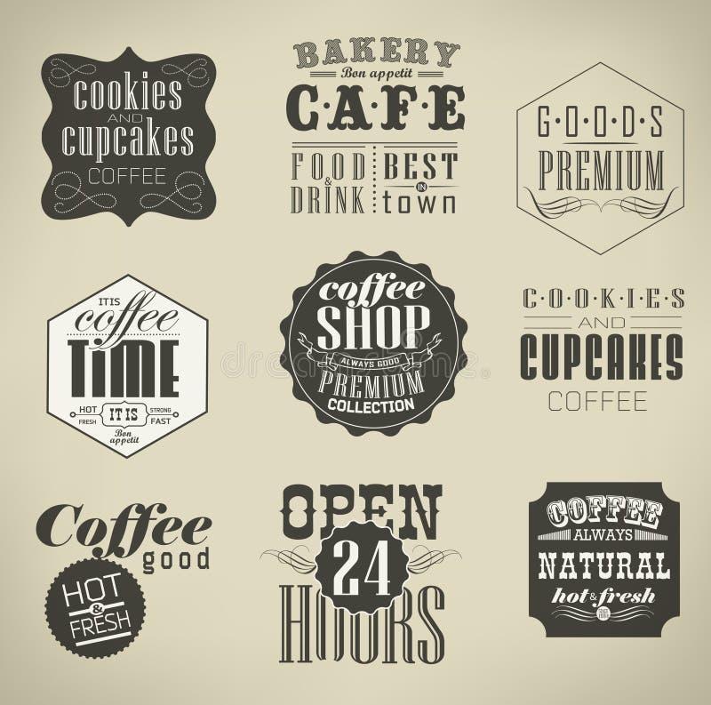 Retro etiketter och typografi, stock illustrationer