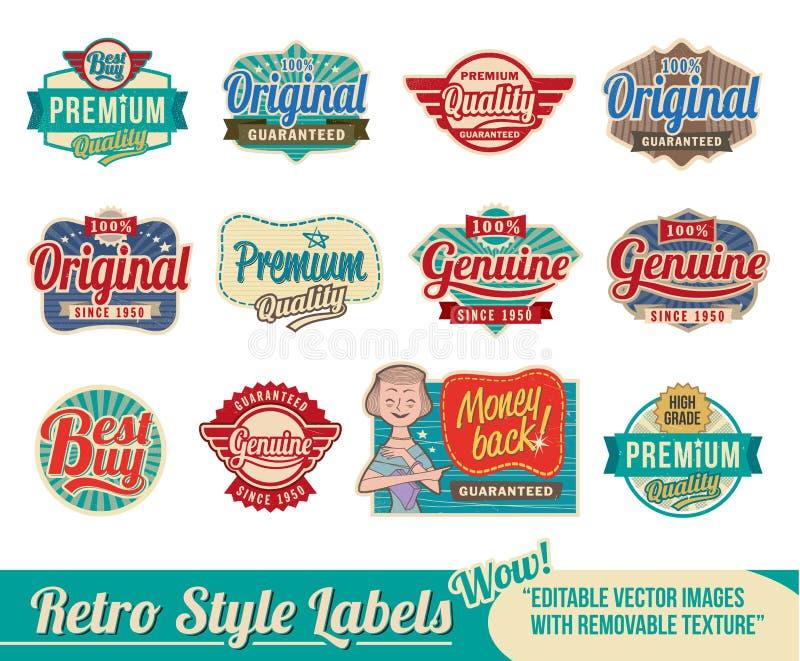Retro etikettSet stock illustrationer