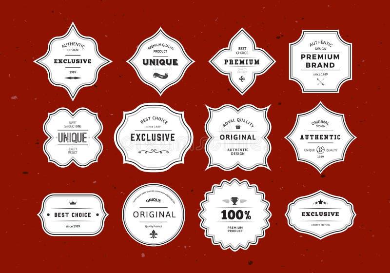 Retro etikettuppsättning för Grunge vektor illustrationer