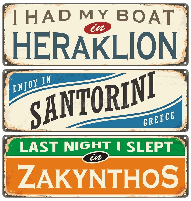 Retro etykietki z miasteczkami w Grecja ilustracji
