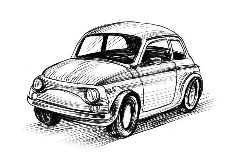 Retro European car royalty free illustration