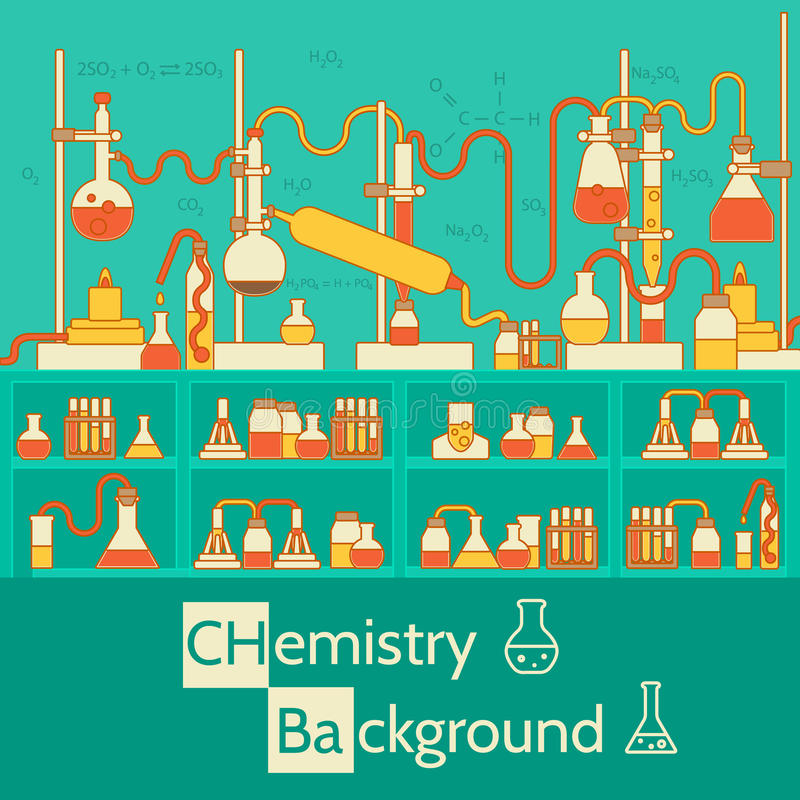 Retro- Experimente in einem Chemielabor stock abbildung