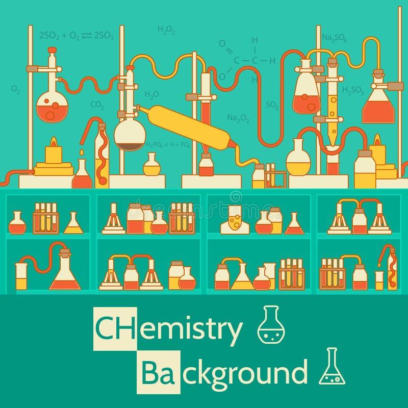 Retro experimenten in een chemielaboratorium stock illustratie