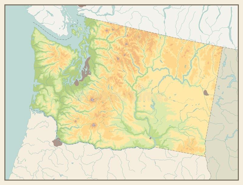 Retro färgöversikt av Washington ingen text stock illustrationer