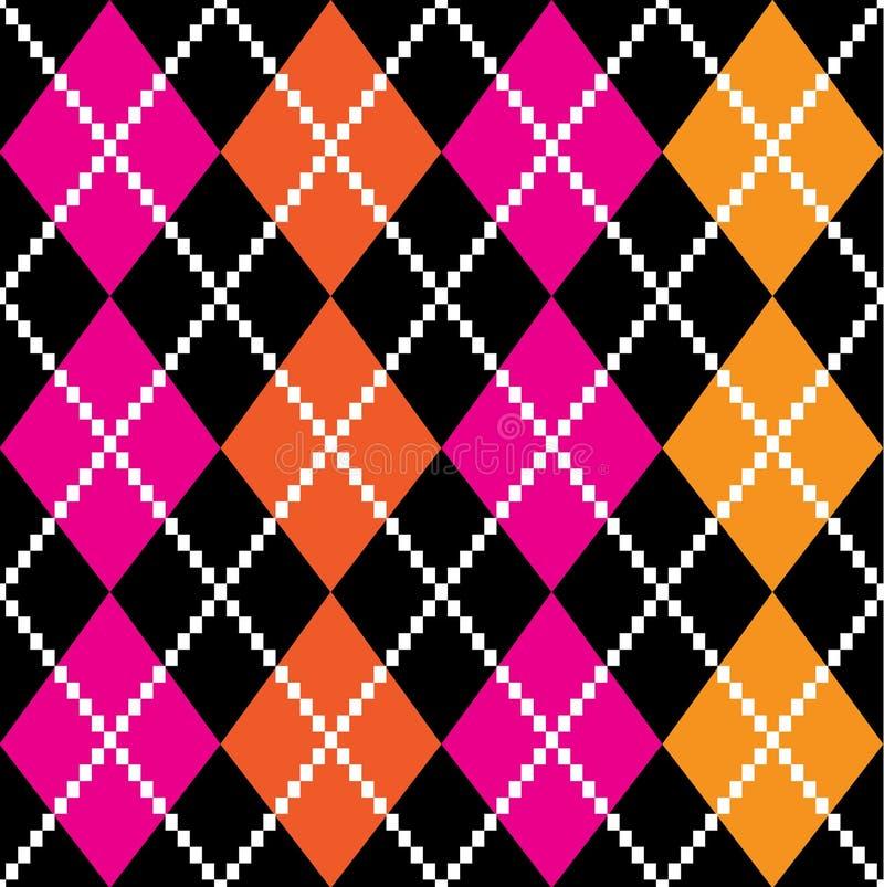 Retro färgrik argile modell - orange och pink stock illustrationer