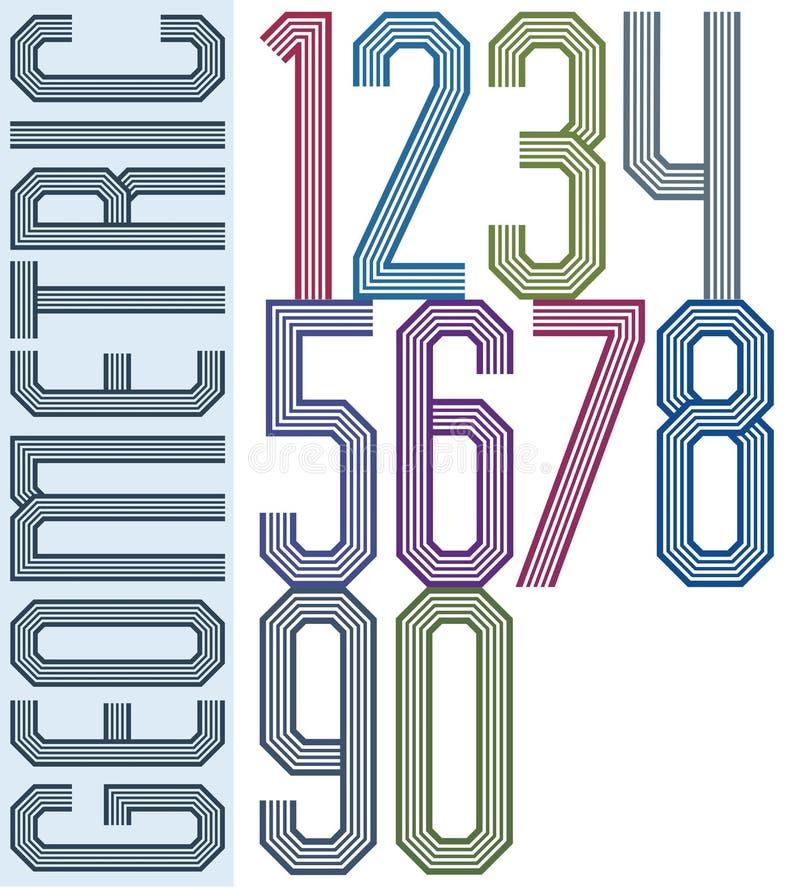 Retro färgrika geometriska nummer med parallella linjer som är dekorativa royaltyfri illustrationer