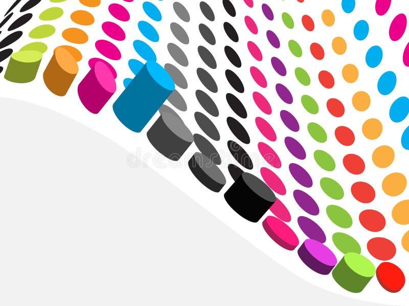 retro färgrikt raster för prick 3d stock illustrationer