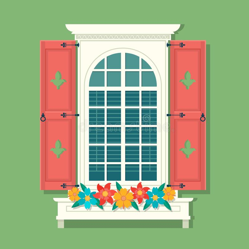 Retro fönster med röda träslutare och gardiner på grön väggbakgrund av det gamla huset Tappningfönster med vektor illustrationer