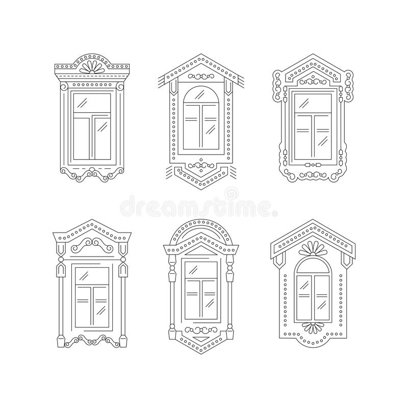 Retro fönstersymbol, fönstertappningramar Isolerade symboler på en vit bakgrund Linje konstdesign, vektorillustration stock illustrationer