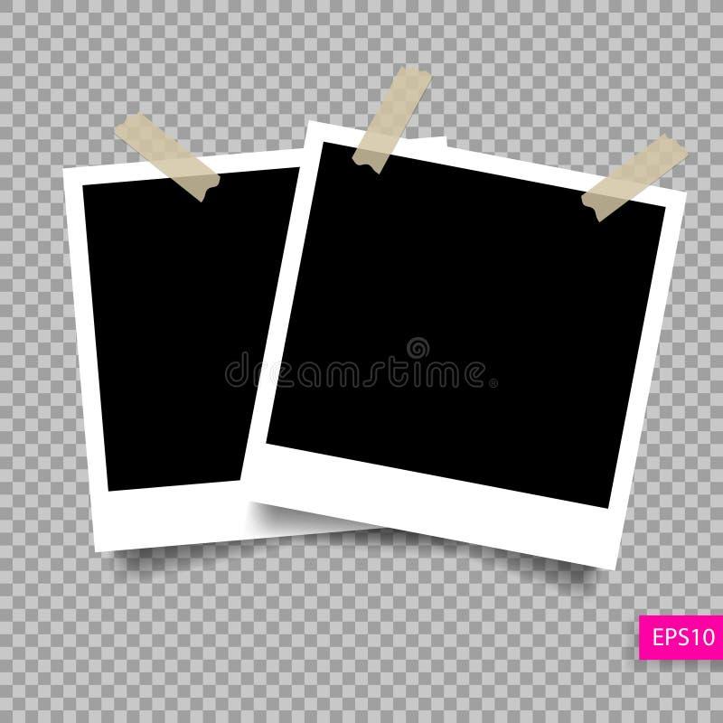 Retro för fotoram för polaroid två mall royaltyfri illustrationer