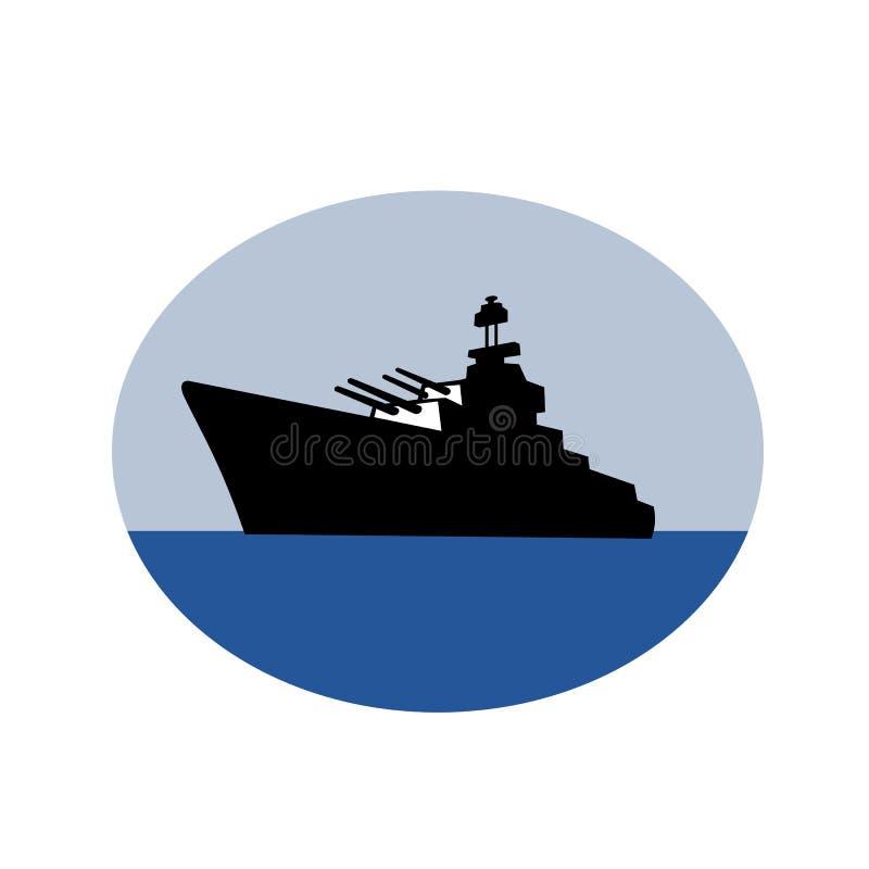 Retro för jagare för slagskepp för världskrig två ovalt vektor illustrationer