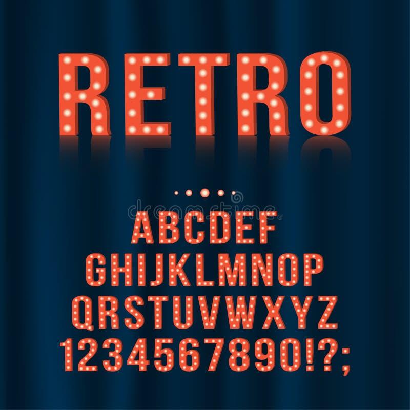 Retro, för tappning för ljus kula för alfabet bokstäver och nummer för skyltar, film, teater, kasino stock illustrationer