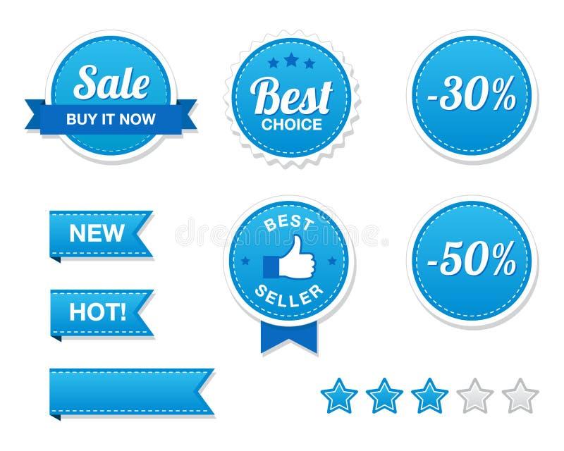 retro försäljningsset för knappar stock illustrationer