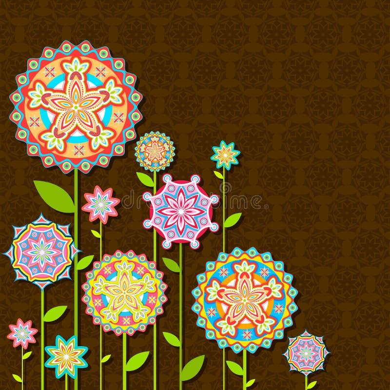 retro färgrik blomma royaltyfri illustrationer