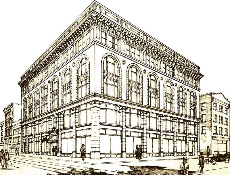retro facade stock illustrationer