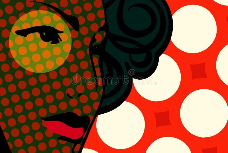 Retro face. Retro woman face surrounding bubbles stock illustration