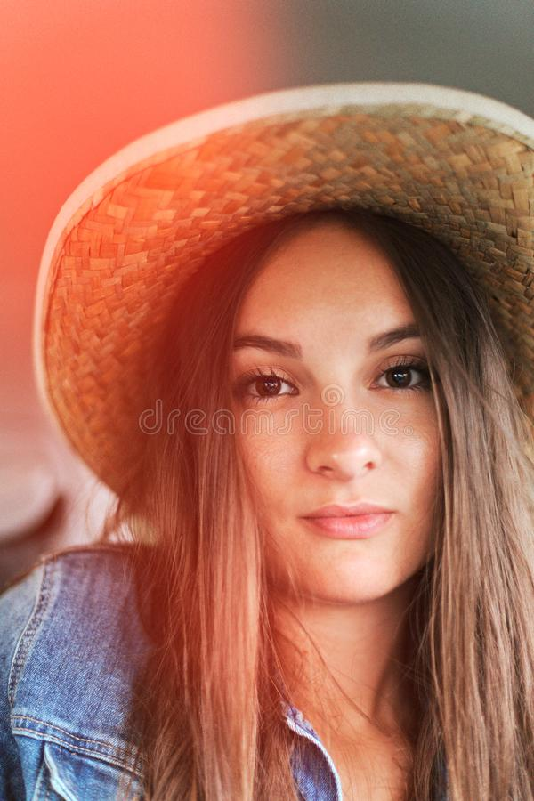 Retro face portrait hat sun, great design for any purposes. Summer fashion, holiday. Beauty model. Beauty face. stock photos