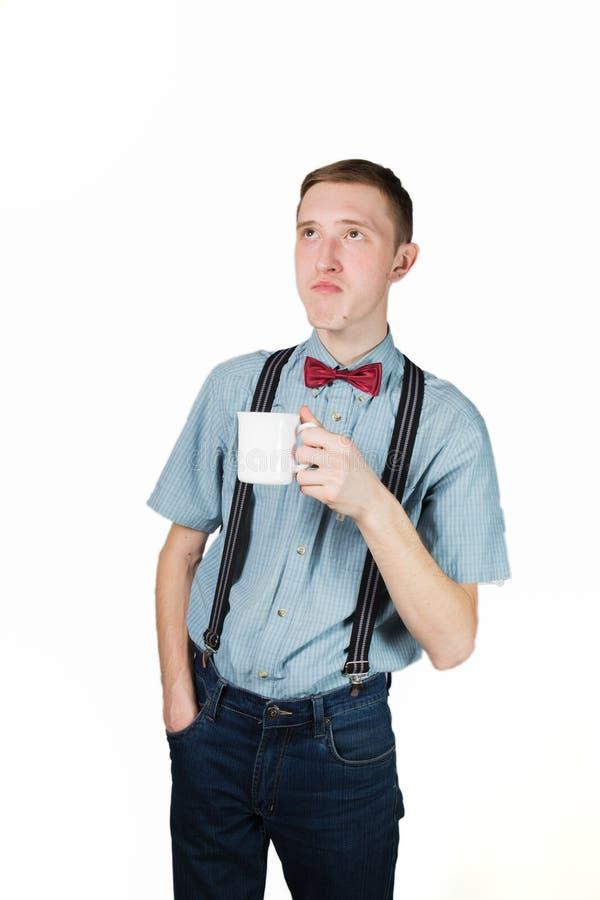 Retro facet trzyma filiżankę zdjęcia royalty free
