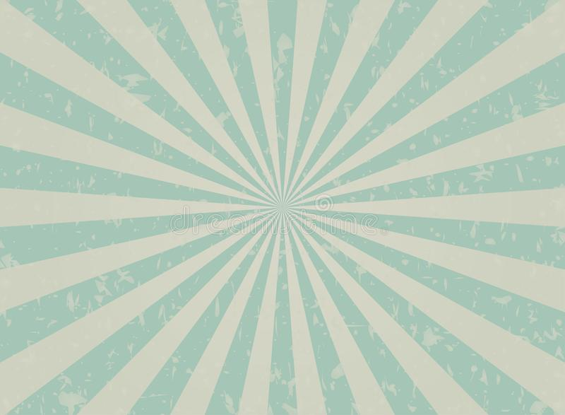 Retro faded grunge background. faded turquoise and beige color burst background. Vector illustration. stock illustration