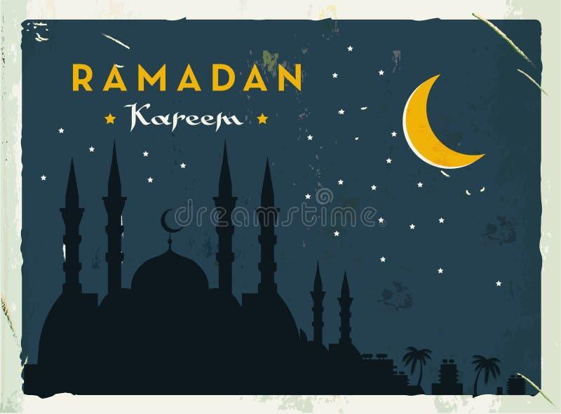 Retro- Fahne Ramadan Kareems Schmutzweinleseart Auch im corel abgehobenen Betrag Altmodisches Design lizenzfreie abbildung