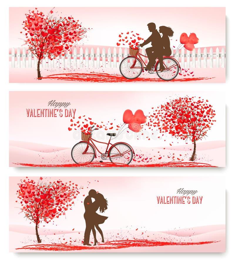 Retro- Fahnen des Feiertags Valentinsgrußbäume mit Herz-förmigen Blättern lizenzfreie abbildung
