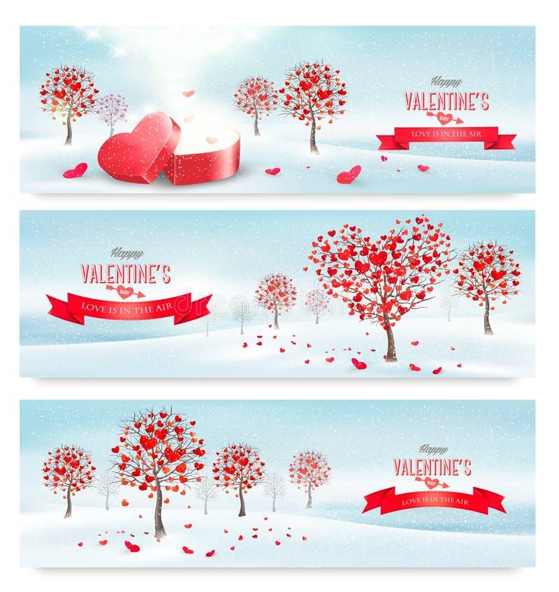 Retro- Fahnen des Feiertags Valentinsgrußbäume mit Herz-förmigen Blättern vektor abbildung