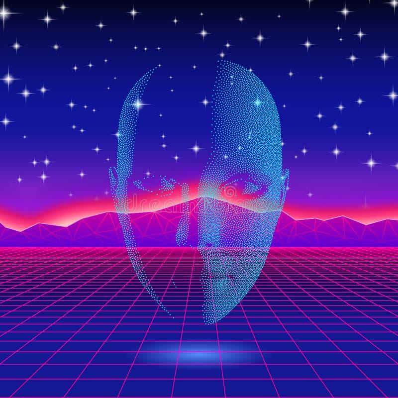 Retro falowa błyszcząca kierownicza sylwetka nad neonowym krajobrazem royalty ilustracja